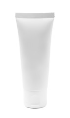 White cosmetic tube of cream or gel
