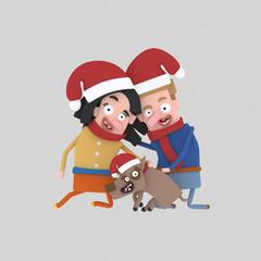 Santa couple with pet dog.  Custom 3d illustration contact me!