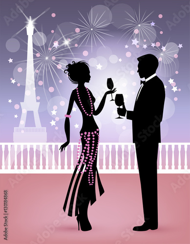 happy new year in paris couple in midnight party with background of fireworks