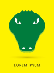 Crocodile face front view graphic vector.