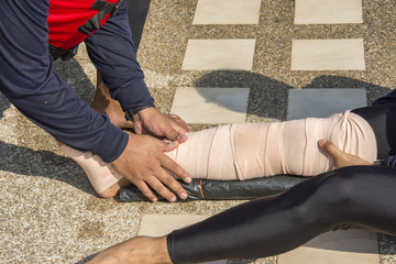 elastic bandage apply pressure immobilized technique or PIT wind