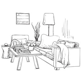 Modern interior room sketch. Hand drawn fireplace.