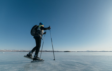 Norwegian hiking skates. An experimental tour skates for prolonged trips to the ice. Used in Russia.