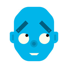 Emotional happy robot head in cartoon style. robot joy