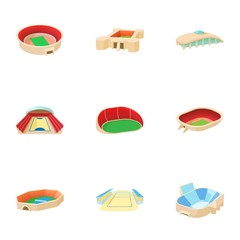 Sports complex icons set. Cartoon illustration of 9 sports complex vector icons for web