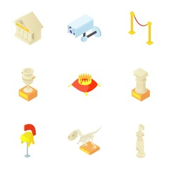 Items in museum icons set. Cartoon illustration of 9 items in museum vector icons for web