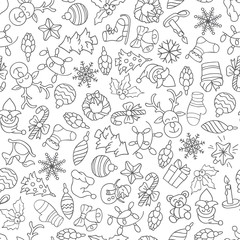 Christmas seamless pattern with different icons.