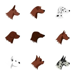Faithful friend dog icons set. Flat illustration of 9 faithful friend dog vector icons for web