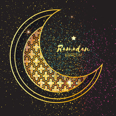 Golden Festive Ramadan crescent moon, stars. Greeting card.