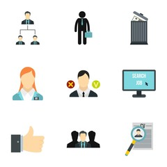 Work icons set. Flat illustration of 9 work vector icons for web