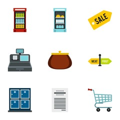Supermarket icons set. Flat illustration of 9 supermarket vector icons for web