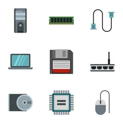 Computer repair icons set. Flat illustration of 9 computer repair vector icons for web