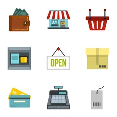 Online shopping icons set. Flat illustration of 9 online shopping vector icons for web