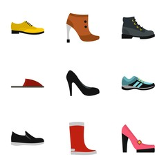 Shoes icons set. Flat illustration of 9 shoes vector icons for web