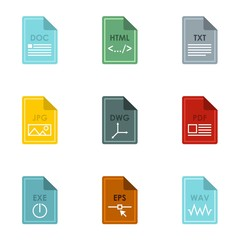Document types icons set. Flat illustration of 9 document types vector icons for web