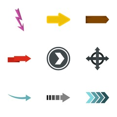 Pointer icons set. Flat illustration of 9 pointer vector icons for web