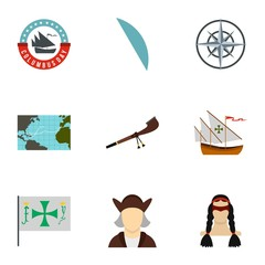 Search of mainland icons set. Flat illustration of 9 search of mainland vector icons for web