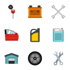 Renovation for machine icons set. Flat illustration of 9 renovation for machine vector icons for web
