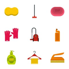 Sanitary day icons set. Flat illustration of 9 sanitary day vector icons for web