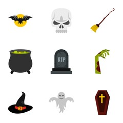 Halloween icons set. Flat illustration of 9 halloween vector icons for web