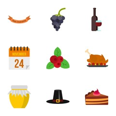 Thanksgiving feast icons set. Flat illustration of 9 thanksgiving feast vector icons for web