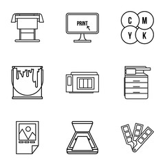 Printing icons set. Outline illustration of 9 printing vector icons for web