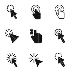 Types of arrows icons set. Simple illustration of 9 types of arrows vector icons for web