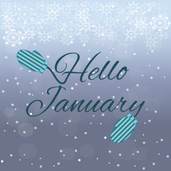 Hello January lettering on blue background