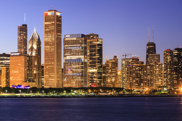 Chicago cityscape at dusk viewed from Lake Michigan, Chicago, Illinois, United States of America, North America
