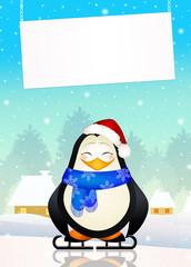 penguin on ice skates