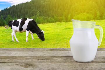 Milk in glass jug