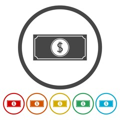 Money vector icons set