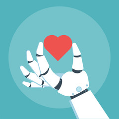 Robot arm hold heart