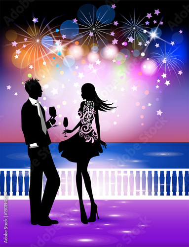 happy new year in the sea landscape couple in midnight party with background of fireworks