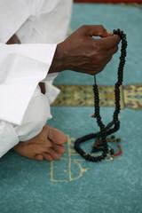 Muslim with prayer beads, Lyon, Rhone Alpes, France, Europe
