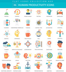 Vector Human productivity color flat icon set. Elegant style design Human productivity web icon.