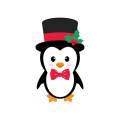cute penguin with hat on a white background