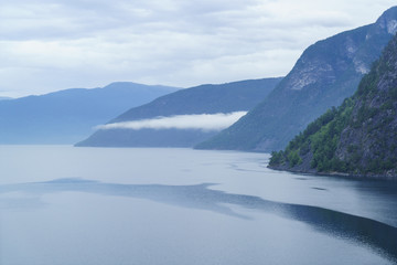 Aurlandsfjord, a branch of Sognefjord near the small town of Flam, Norway, Scandinavia, Europe