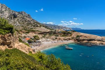 """Beautiful bay """"Calanque Sormiou"""". Calanques, South France."""