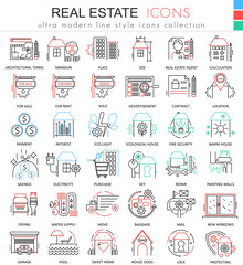 Vector Real estates color line outline icons for apps and web design. Real estates icons.