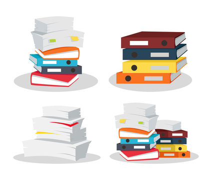 Set of Document Stacks Vector on White Background.