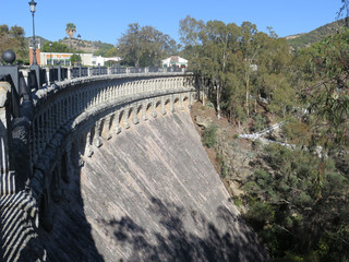 Dam wall at reservoir