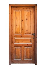 A frame and panel wooden door isolated on white background