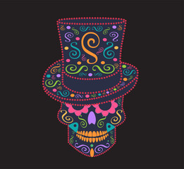 Skull vector background for fashion design, patterns, tattoos with cylinder hat