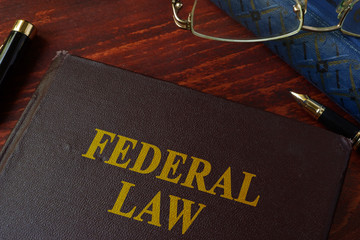 Book with title federal law on a table. Wall mural