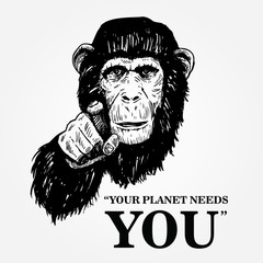 Drawing of an ape with text your planet needs you, Vector