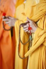 Buddhist monks praying, Thiais, Val de Marne, France, Europe