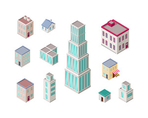 Isometric City Buildings Vector Set. Isometry