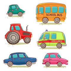 Set of isolated images with cars, ambulance, tractor and school bus. Vector illustration