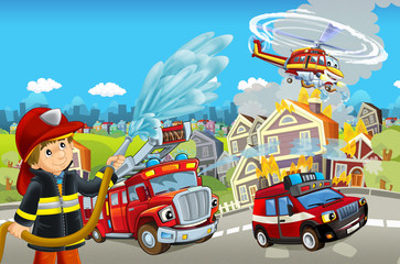 Cartoon stage with different machines for firefighting - trucks helicopter and fireman - colorful and cheerful scene - illustration for children